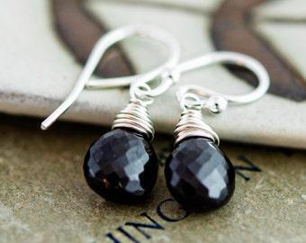 Onyx Earrings, Drop Earrings, Gemstone Earrings, Black Stone, Wire Wrapped, Dangle Earrings, Black Earrings, Gemstone Jewelry, PoleStar