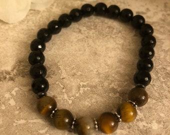 Tiger Eye & Black Rondelle Beaded Bracelet