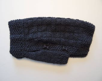 Cozy hand knitted dog sweater for extra small dogs in dark charcoal grey