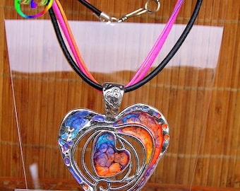 Double Choker and its Bohemian ornate hand painted metal heart pendant necklace
