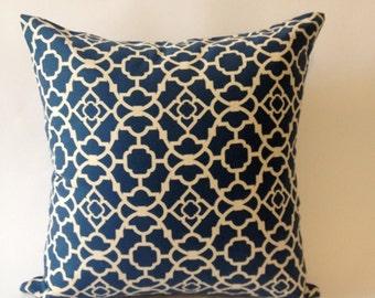 Blue & Off White Decorative Pillow Cover -Set of two 16x16 Medium Weight  Lattice Cotton Print  -Invisible Zipper Closure
