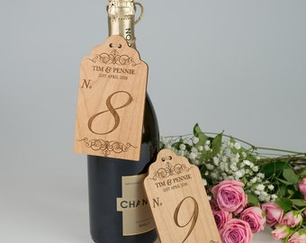 10x Engraved Wooden Table Number Tag