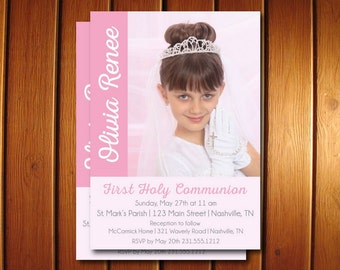 Photo First Communion Invitations, Girls 1st Holy Communion Invites, Announce It!