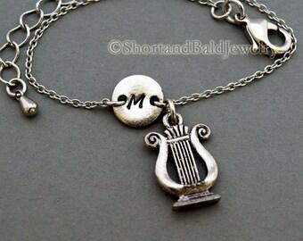 Ancient Harp charm bracelet, The Lyre, antique silver, initial bracelet, friendship, mothers, adjustable, monogram