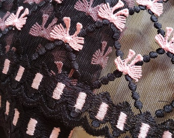 """Wide Black Lace With Pink Bows - Sewing Trim - 6 3/4"""" Wide - 1 Yard"""