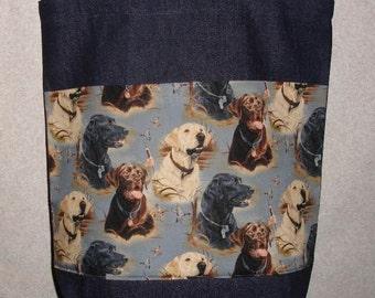 New Large Handmade Labrador Retriever Lab Dog Denim Tote Bag
