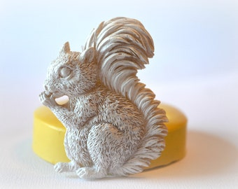 0409 Squirrel with Acorn Silicone Rubber Flexible Food Safe Mold Mould-resin, clay, fondant, cake decor, candy, chocolate