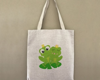 Custom Tote Bag Frog Love Customizable Personalized Gift For Her Gift For Him Shopping Bag Bulk Farmers Market