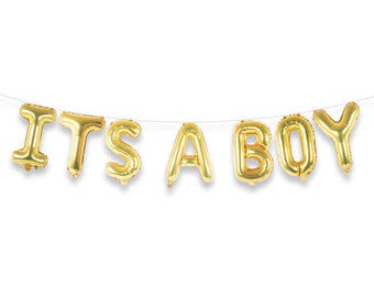 "ITS A BOY 16"" Gold Foil Letter Balloon Banner Kit"