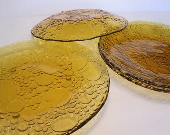RARE Set of 4 Vintage Bubble Pebble Glass Amber Plates