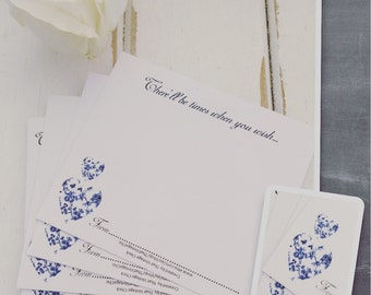 """Wedding Wishing Well Cards Guest Book Alternative - 100 Guest Wishes Cards """"BLUE TOILE"""""""
