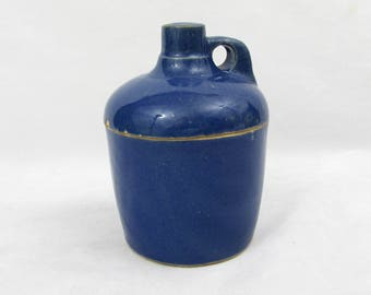 "Blue Stoneware 4"" Jug shape 2 pc container - Jam Jar, Spice Container - ca 40s"