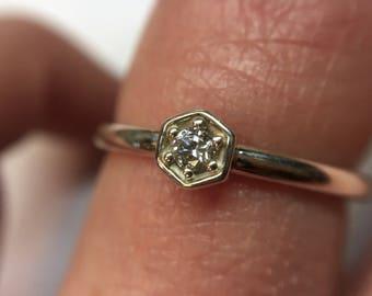 Hexagon Diamond Ring ~ Engagement Ring ~ Promise Ring ~ 3mm Genuine Conflict-Free Diamond ~ Alternative Bridal Jewelry
