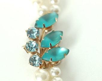 Blue Rhinestone and White Pearl Double Strand Wedding Necklace, Eco Friendly, Vintage Rhinestone, Upcycled, Something Blue, Layered