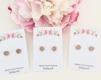 10-20% OFF BRIDESMAID SETS, Rose Gold Earrings Bridesmaid Earrings Set, Rose gold druzy earrings, Rose Gold Wedding, bridesmaid gifts