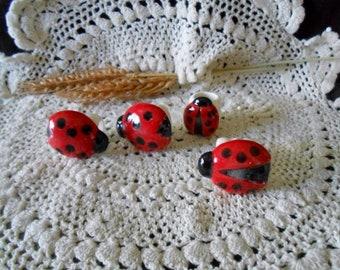 4 Ladybug Shaped Glazed Ceramic Macrame Beads-Handcrafted-Red & Black-Clear Glaze-A22