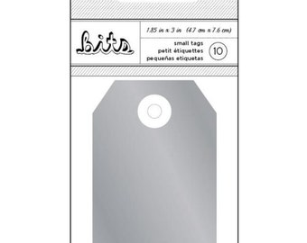 Silver Decorative Cardstock Media Tags for Scrapbooks, Gifts, Crafts, Etc - Set of 10, 3 x 1 7/8 Inches