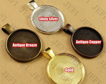 Wholesale 50 Pendant Trays- 20mm Round Bezel Cup Cabochon Mountings W/ Loop, Bronze/ Antique Silver/ Silver/ Gold Plated Zinc Alloy Settings