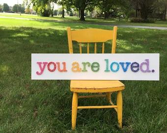 MADE TO ORDER String Art Rainbow You are Loved Sign