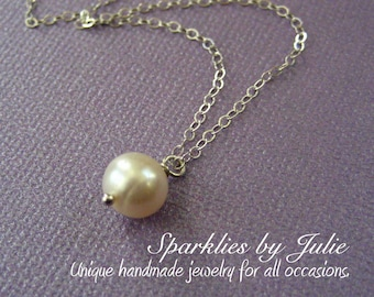 Pearl Simplicity Necklace - Freshwater round pearl, all sterling silver, ADJUSTABLE necklace, Bride, Bridesmaids, or Flower Girl gifts