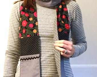 Flannel lined Patchwork Scarf - black dots and red flowers
