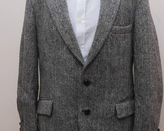 Mens Harris Tweed Jacket Grey Herringbone 42in Chest