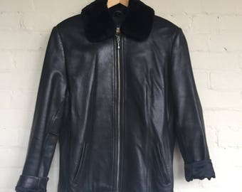 Leather jacket fur collar Lord and Taylor leather jacket pilot jacket pilot coat