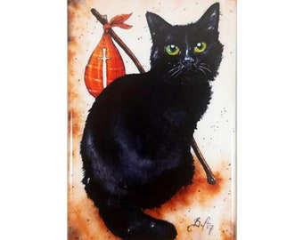 Destruction Kitten Magnet: Watercolour Sandman Black Cat