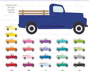 Vintage Truck Clipart, PNG Digital Clipart - Instant download