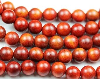 108pcs Natural Red Sandalwood Mala Prayer Beads Necklace/Bracelet Strand, One full strand,8mm/6mm Round, -GEM1772