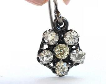 Antique Diamond Earrings   Cluster Earrings   Halo Earrings   Old Mine Cut Diamonds  1.33 carats