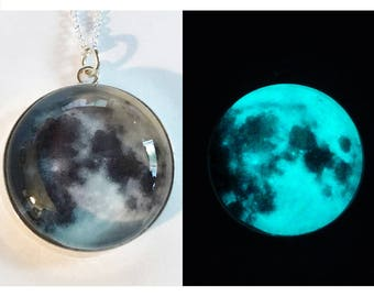 Once In a Blue Moon Sterling Silver Glow in the Dark Necklace