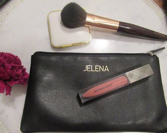 Monogram Leather Makeup Pouch