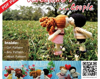 PDF Pattern - Amigurumi Valentine's Couple (Boy & Girl) Pattern