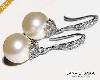 Bridal Pearl Earrings Pearl Drop Wedding Earrings Swarovski 10mm Ivory Pearl Silver Earrings Bridal Bridesmaid Jewelry Prom Pearl Earrings