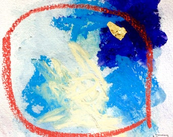 """Original Pastel Watercolour and Pencil drawing with gold leaf """"#3"""""""