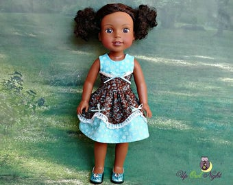 "Doll Dress Blue & Brown ""Lady Nicola"" American Made to Fit Your 14"" Girl"