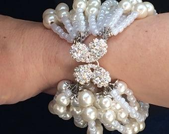 Ivory Bridal Pearl Bracelet,Wedding Jewelry , Bridesmaids gifts , Chunky Bold Weddings Pearl Bracelet with Rhinestones,Multi Strand Cuff