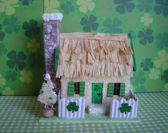 St. Patrick's Irish Cottage putz style paper village house