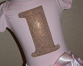 Gold BIRTHDAY NUMBER rhinestud tee by 1286 Kids (formerly known as Daisy Creek Designs)
