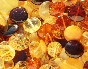 Polished Muliticolour Baltic Amber Discs Beads with holes. 3 grams (approx 12 beads) or 10 grams (approx 38 beads), jewellery making