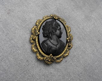 Antique Mourning Victorian Cameo Dress Clip
