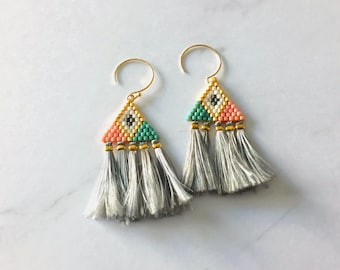Beadwoven earrings and marled silk yarn tassels