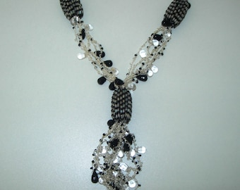 Black and white, crochet, beads necklace, hand made, Y necklace, vintage