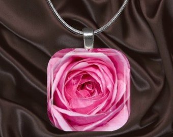 Pink Rose Glass Tile Pendant with chain(CusFl3.1)
