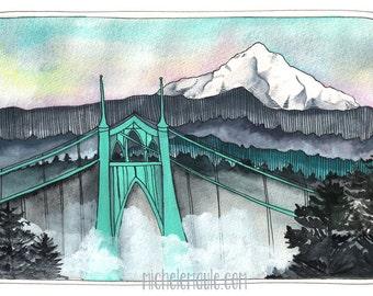 St Johns Bridge Postcard - Mt Hood Postcard - Portland Oregon - Portland Postcard - Illustrated Postcard - Mt Hood/St Johns Postcard