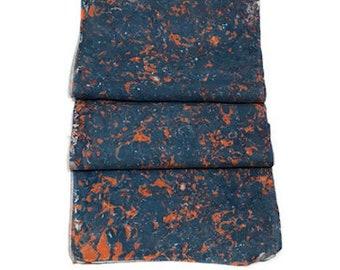 "One-of-a-kind Handmade Marbled Silk Scarf 11""x60"" - Bella - Orange and Blue"