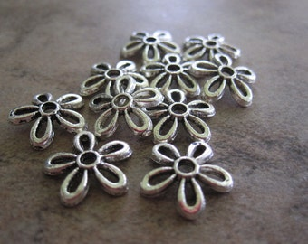 10 Antiqued Silver-Plated Pewter Bead Caps, 11x2mm Flower, for 8-16mm bead - JD62