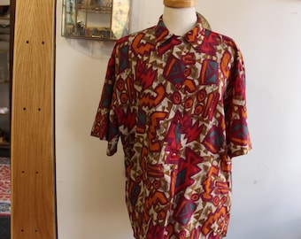 80s 90s Abstract Graphic Print Button Front Oversized Blouse Shirt