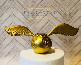 Harry Potter Golden Snitch fondant Birthday party cake topper hogwarts quidditch ball